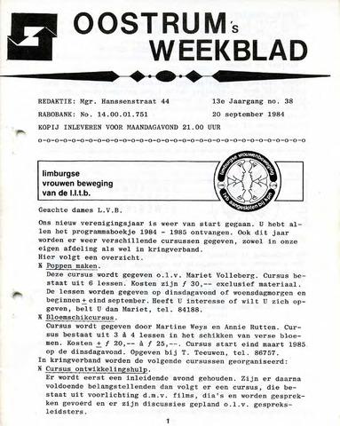Oostrum's Weekblad 1984-09-20