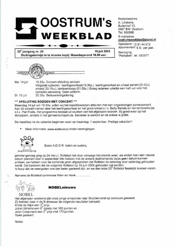 Oostrum's Weekblad 2003-07-10