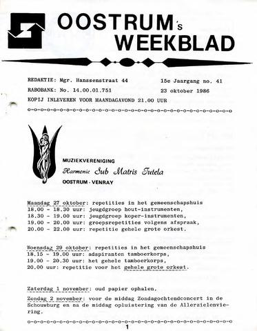 Oostrum's Weekblad 1986-10-23