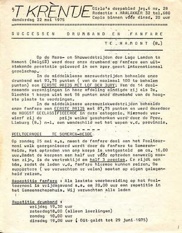 Oirlo's dorpsblad 't Krèntje 1975-05-22