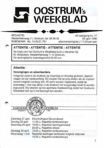 Oostrum's Weekblad 1996-04-25