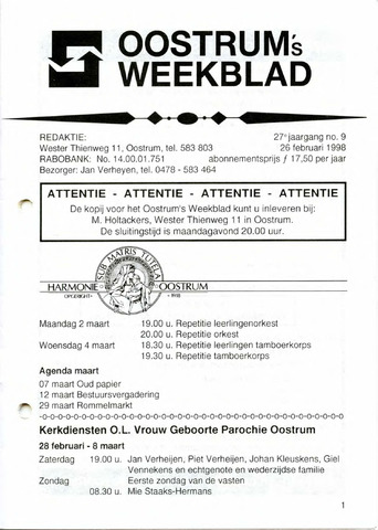 Oostrum's Weekblad 1998-02-26