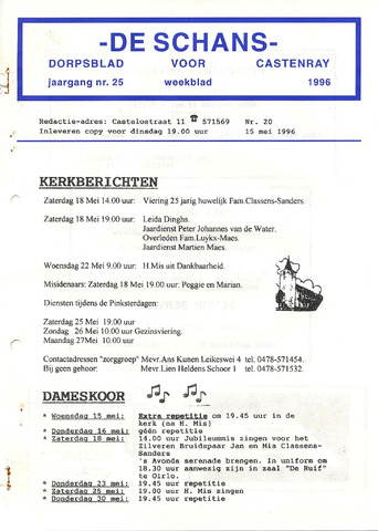 Castenrays dorpsblad De Schans 1996-05-15
