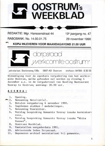 Oostrum's Weekblad 1990-11-29
