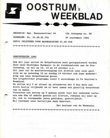 Oostrum's Weekblad 1984-09-27