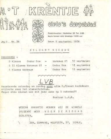 Oirlo's dorpsblad 't Krèntje 1978-09-07