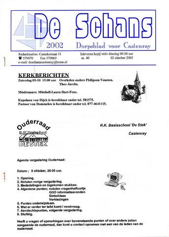 Castenrays dorpsblad De Schans 2002-10-02