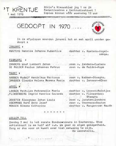 Oirlo's dorpsblad 't Krèntje 1970-05-01