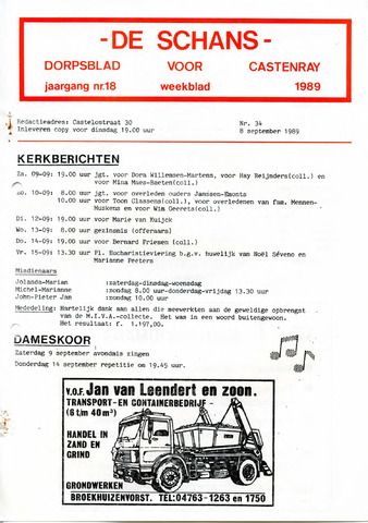 Castenrays dorpsblad De Schans 1989-09-08