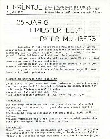 Oirlo's dorpsblad 't Krèntje 1971-07-09