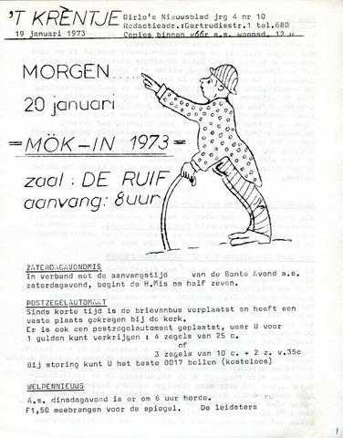Oirlo's dorpsblad 't Krèntje 1973-01-19