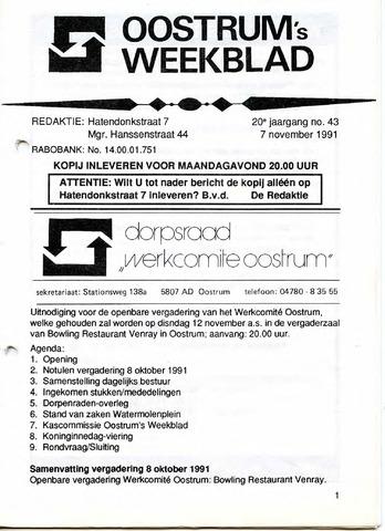 Oostrum's Weekblad 1991-11-07