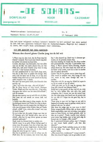 Castenrays dorpsblad De Schans 1981-02-27