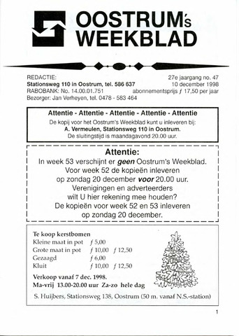 Oostrum's Weekblad 1998-12-10
