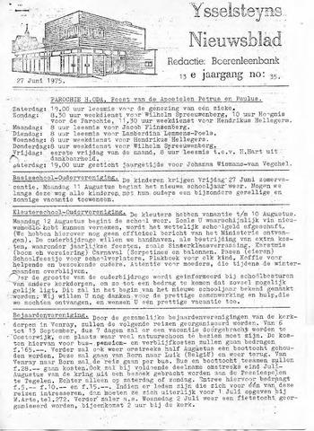 Ysselsteyns Nieuwsblad 1975-06-27