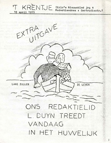 Oirlo's dorpsblad 't Krèntje 1973-04-18