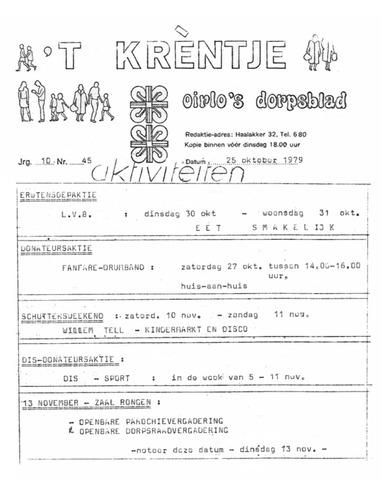 Oirlo's dorpsblad 't Krèntje 1979-10-25