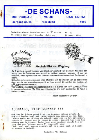 Castenrays dorpsblad De Schans 1996-03-28