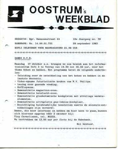 Oostrum's Weekblad 1983-09-29
