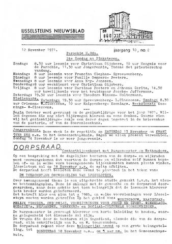 Ysselsteyns Nieuwsblad 1971-11-12