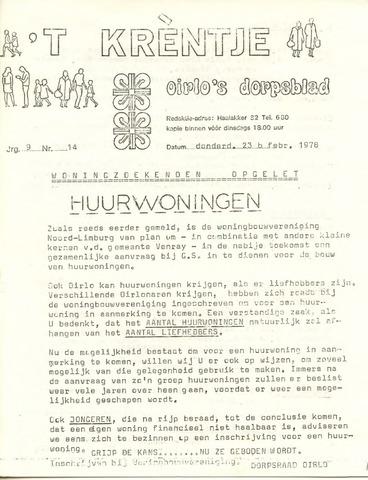 Oirlo's dorpsblad 't Krèntje 1978-02-23