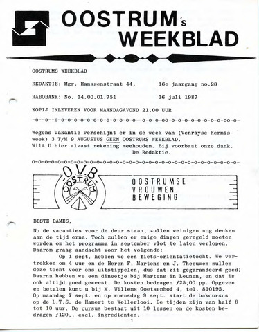 Oostrum's Weekblad 1987-07-16