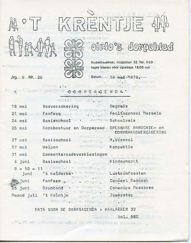 Oirlo's dorpsblad 't Krèntje 1978-05-18