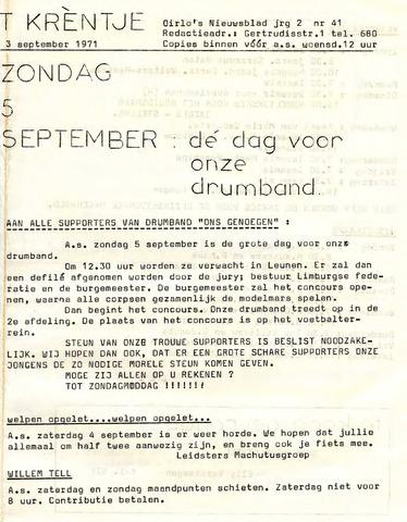 Oirlo's dorpsblad 't Krèntje 1971-09-03