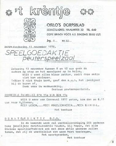 Oirlo's dorpsblad 't Krèntje 1976-11-11