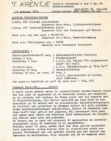 Oirlo's dorpsblad 't Krèntje 1974-10-17