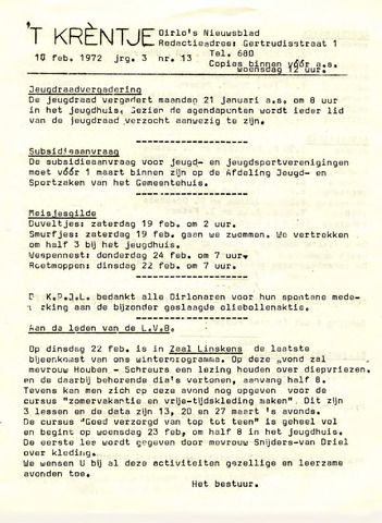 Oirlo's dorpsblad 't Krèntje 1972-02-18
