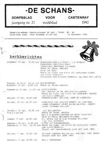 Castenrays dorpsblad De Schans 1992-12-18