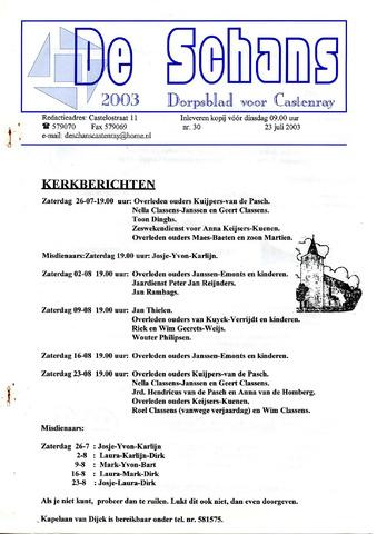 Castenrays dorpsblad De Schans 2003-07-23
