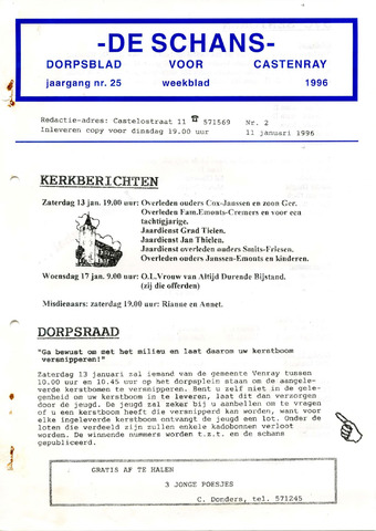 Castenrays dorpsblad De Schans 1996-01-11