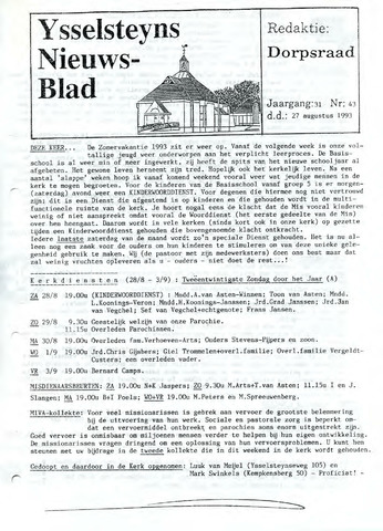 Ysselsteyns Nieuwsblad 1993-08-27