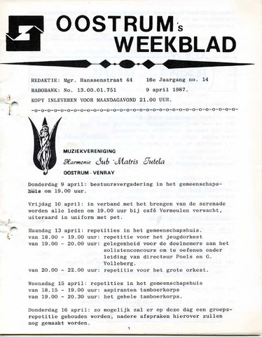 Oostrum's Weekblad 1987-04-09