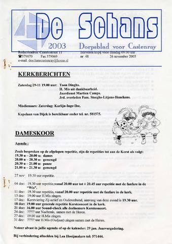 Castenrays dorpsblad De Schans 2003-11-26