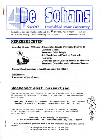 Castenrays dorpsblad De Schans 2000-08-17