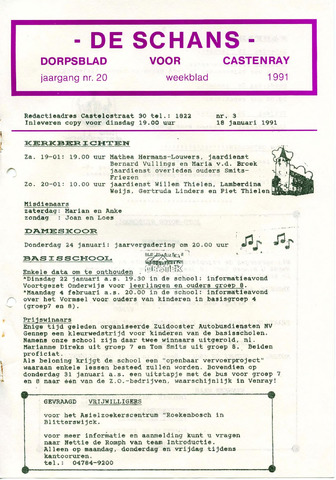 Castenrays dorpsblad De Schans 1991-01-18