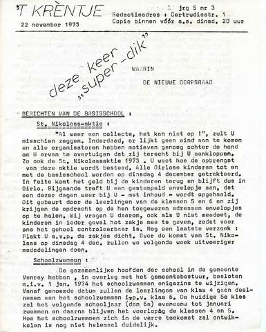 Oirlo's dorpsblad 't Krèntje 1973-11-22