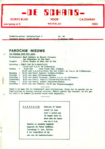 Castenrays dorpsblad De Schans 1980-10-03
