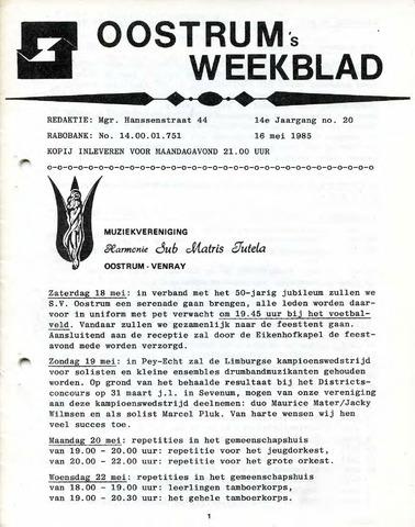 Oostrum's Weekblad 1985-05-16