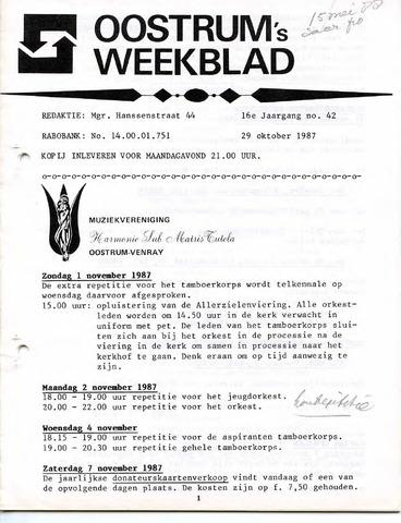 Oostrum's Weekblad 1987-10-29
