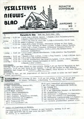 Ysselsteyns Nieuwsblad 1984-02-17