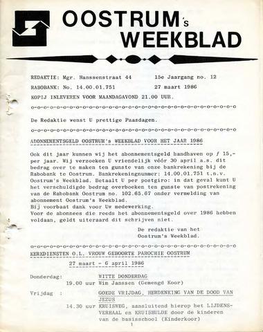 Oostrum's Weekblad 1986-03-27
