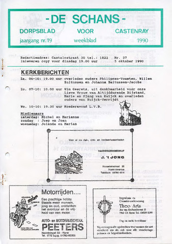 Castenrays dorpsblad De Schans 1990-10-05