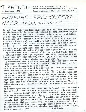 Oirlo's dorpsblad 't Krèntje 1972-12-08