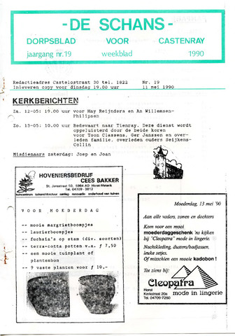 Castenrays dorpsblad De Schans 1990-05-11