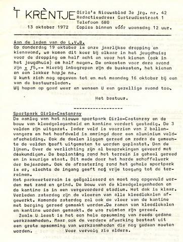 Oirlo's dorpsblad 't Krèntje 1972-10-13