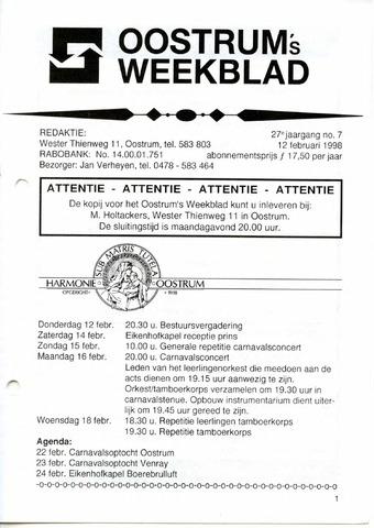 Oostrum's Weekblad 1998-02-12